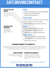 our parentteen safe driving contract • carlson law firm teenage driver contract with parents