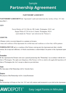 partnership agreement template (us)  lawdepot partnership profit sharing agreement template