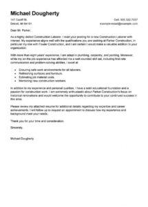 Printable Best Construction Labor Cover Letter Examples Livecareer Template Sample
