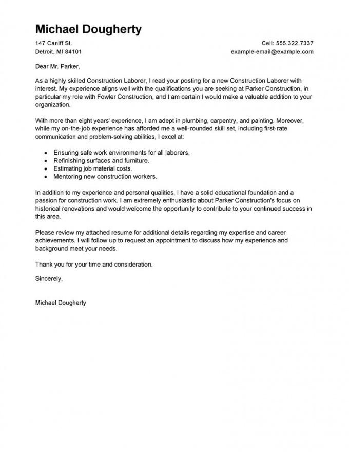 printable best construction labor cover letter examples  livecareer construction cover letter template sample