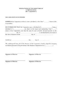 printable canada directors resolution to declare share dividends  legal forms dividend letter to shareholders template sample