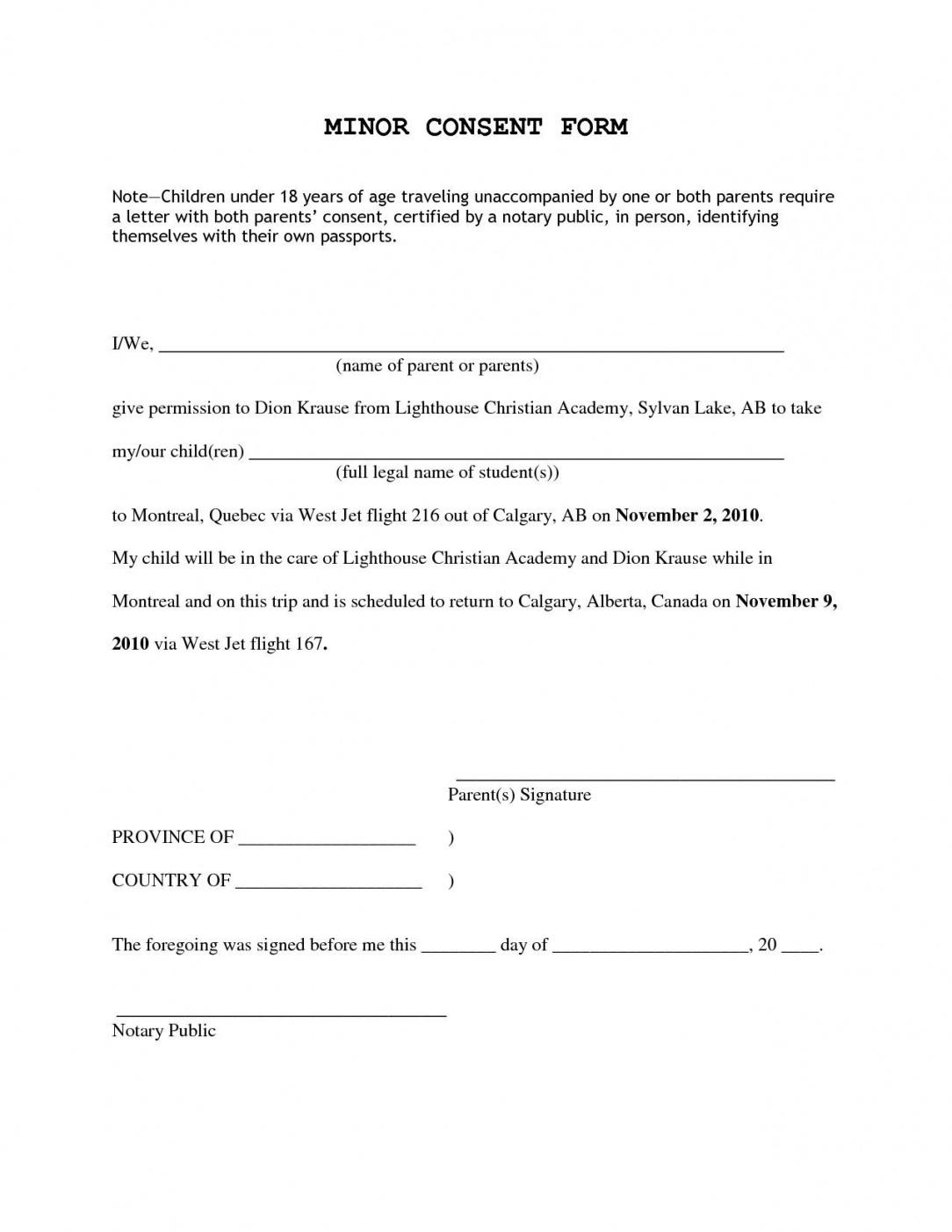 printable consent permission inside letter for children travelling parental notarized travel consent letter template pdf