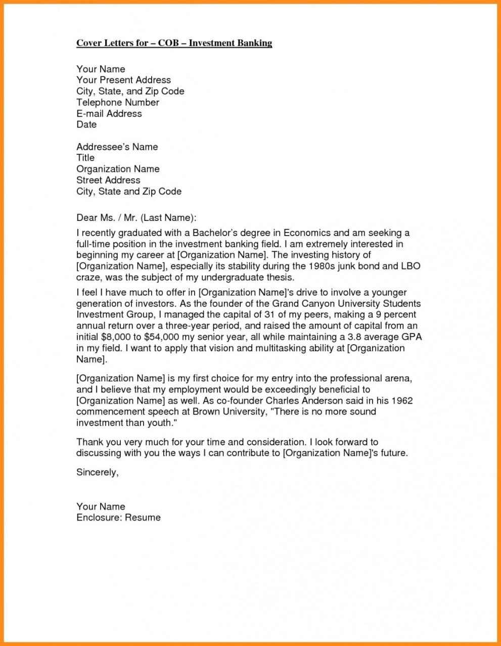 Printable Cover Letter Template Investment Banking Doc