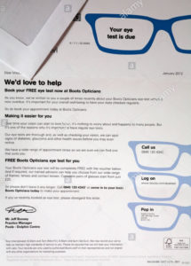 printable eye test reminder letter from boots opticians stock photo: 42092510 opticians recall letter template doc