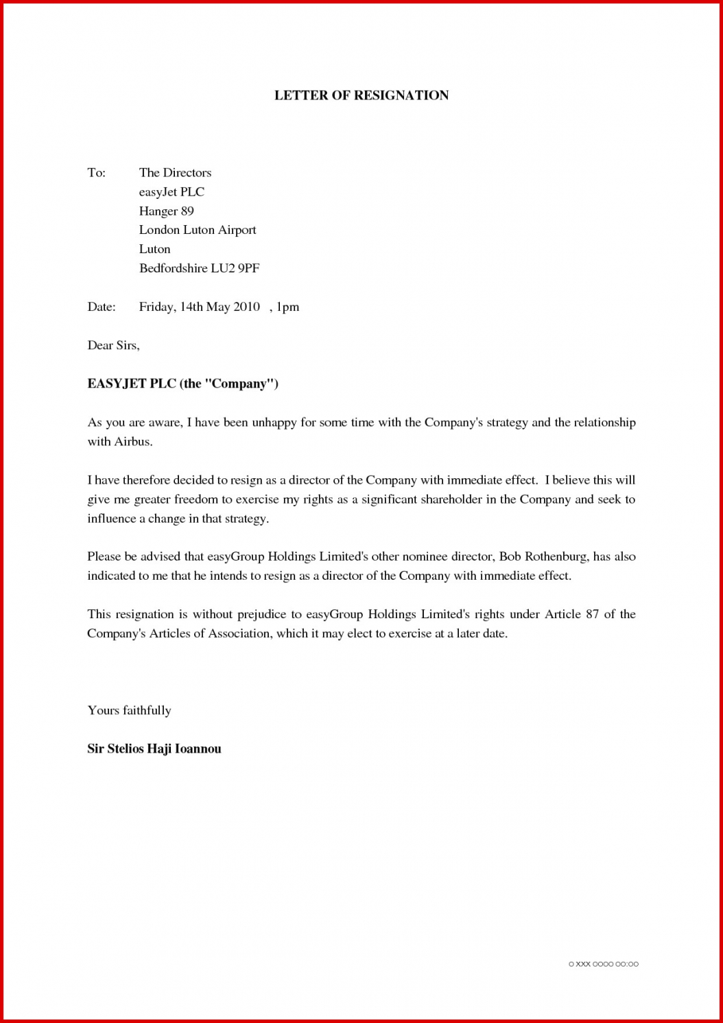 Auditor Resignation Letter Template