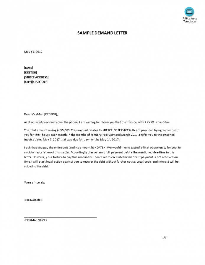 printable free letter of demand sample  templates at allbusinesstemplates debt recovery letter of demand template pdf