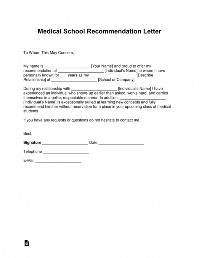 printable free medical school letter of recommendation template  with samples medical school recommendation letter template