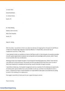 printable nursing resignation letter template  template to use when writing nurse resignation letter template sample