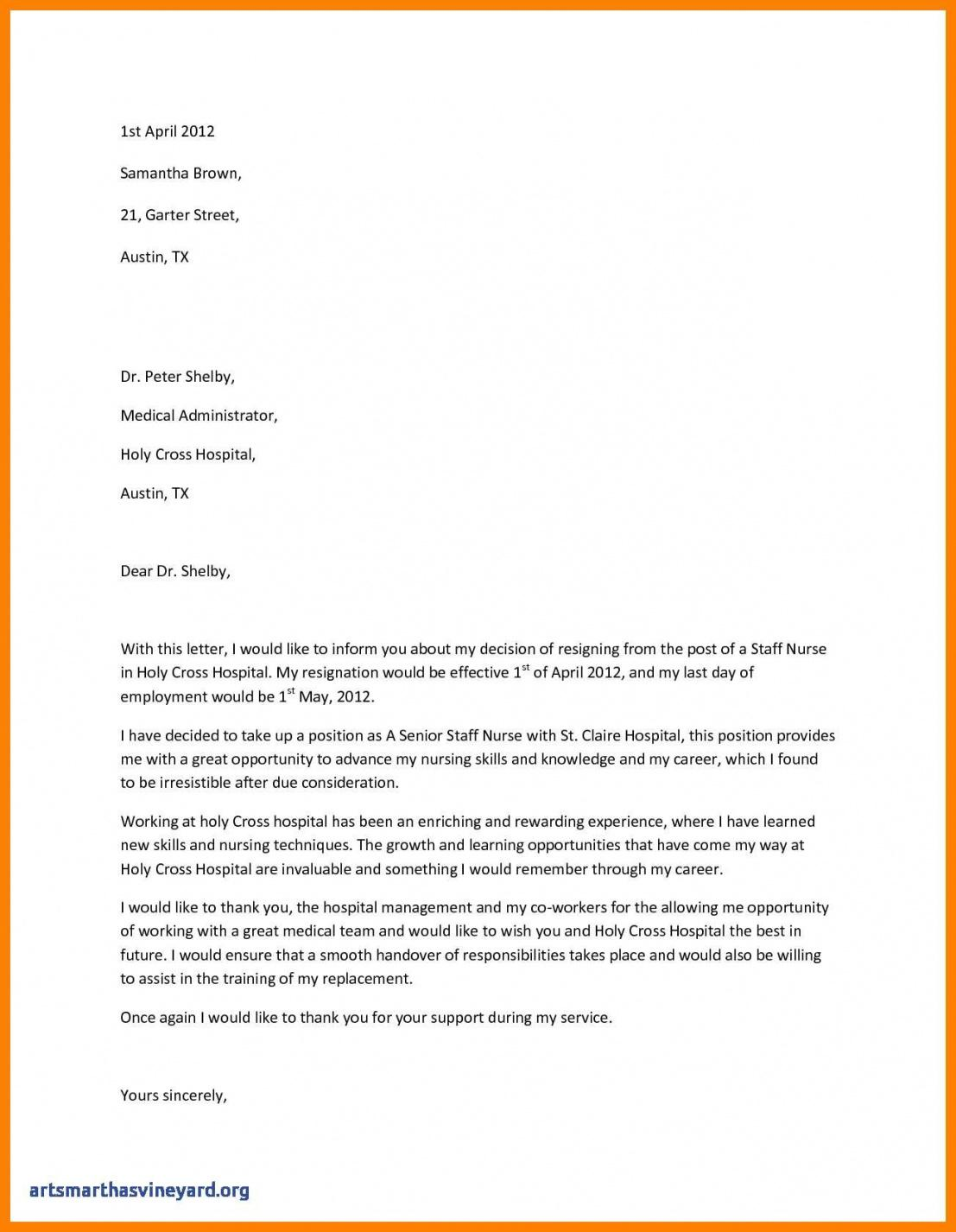 Nurse Resignation Letter Template