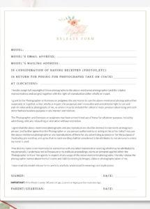 printable photography contract, model release, permission form fashion photography contract template
