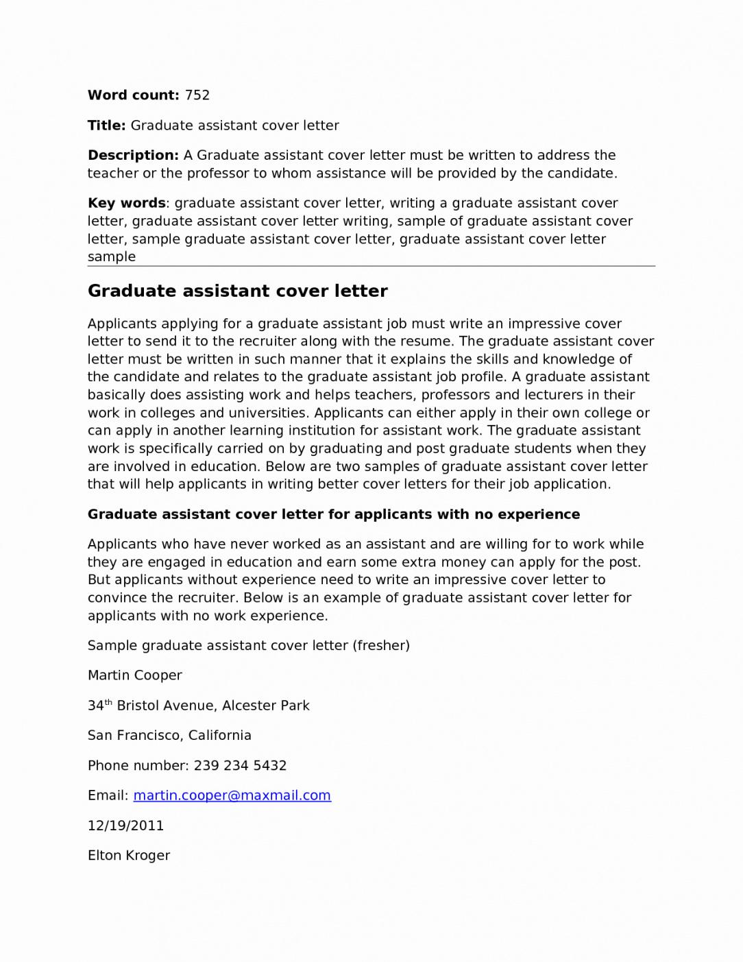 Resume Template Teaching Assistant Cover Letter No Experience Pdf