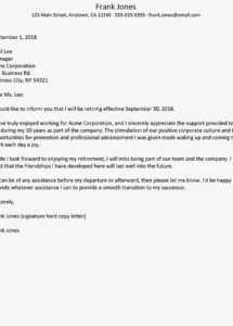 retirement resignation letter examples early retirement resignation letter template sample