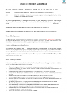 sales commission contract example  templates at commission sales contract template