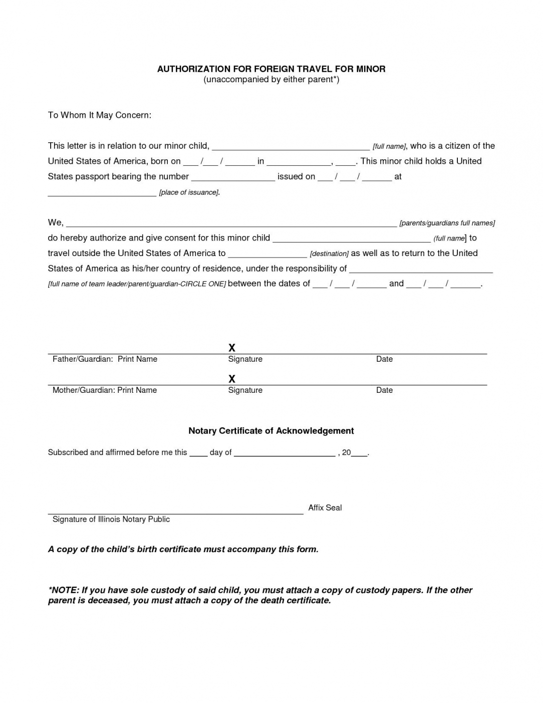 sample notarized letter giving permission valid parental consent notarized travel consent letter template pdf