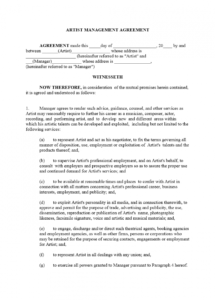 this is the artist management contract template manager artist contract agreement