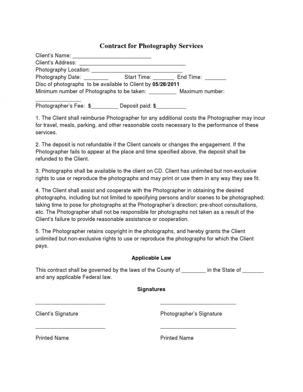 this is the basic wedding photography contracts  photography contract template fashion photography contract template
