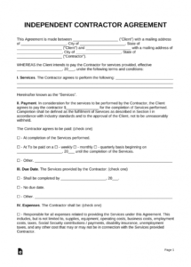 this is the free independent contractor agreement template  pdf  word  eforms hourly contract agreement