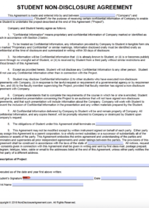 this is the free student nondisclosure agreement (nda)  pdf  word (docx) student council contract template