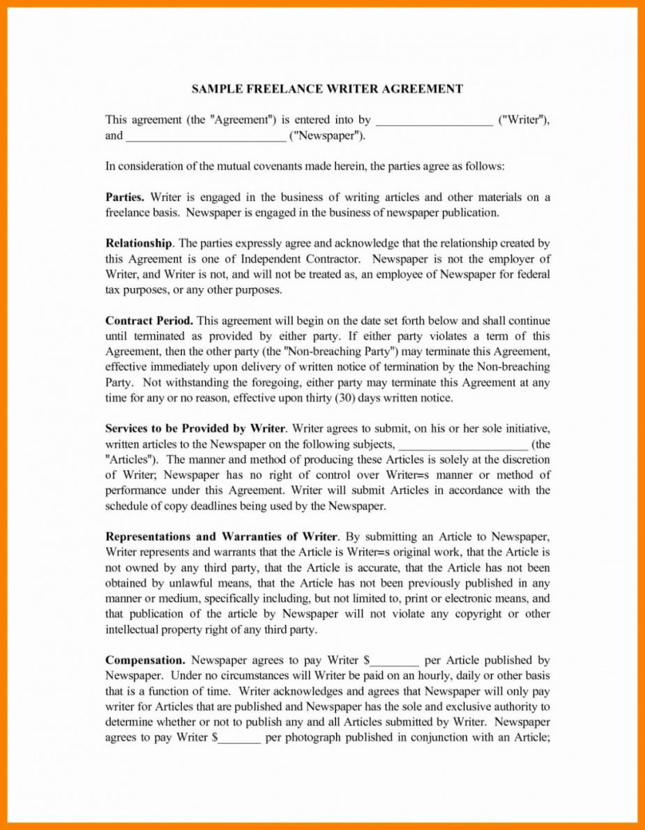 this is the freelance writing agreement template  lostranquillos freelance writer agreement contract