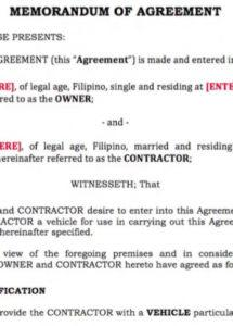 this is the grab/uber driver contract template for ph drivers 2017 youtube agreement between driver and owner