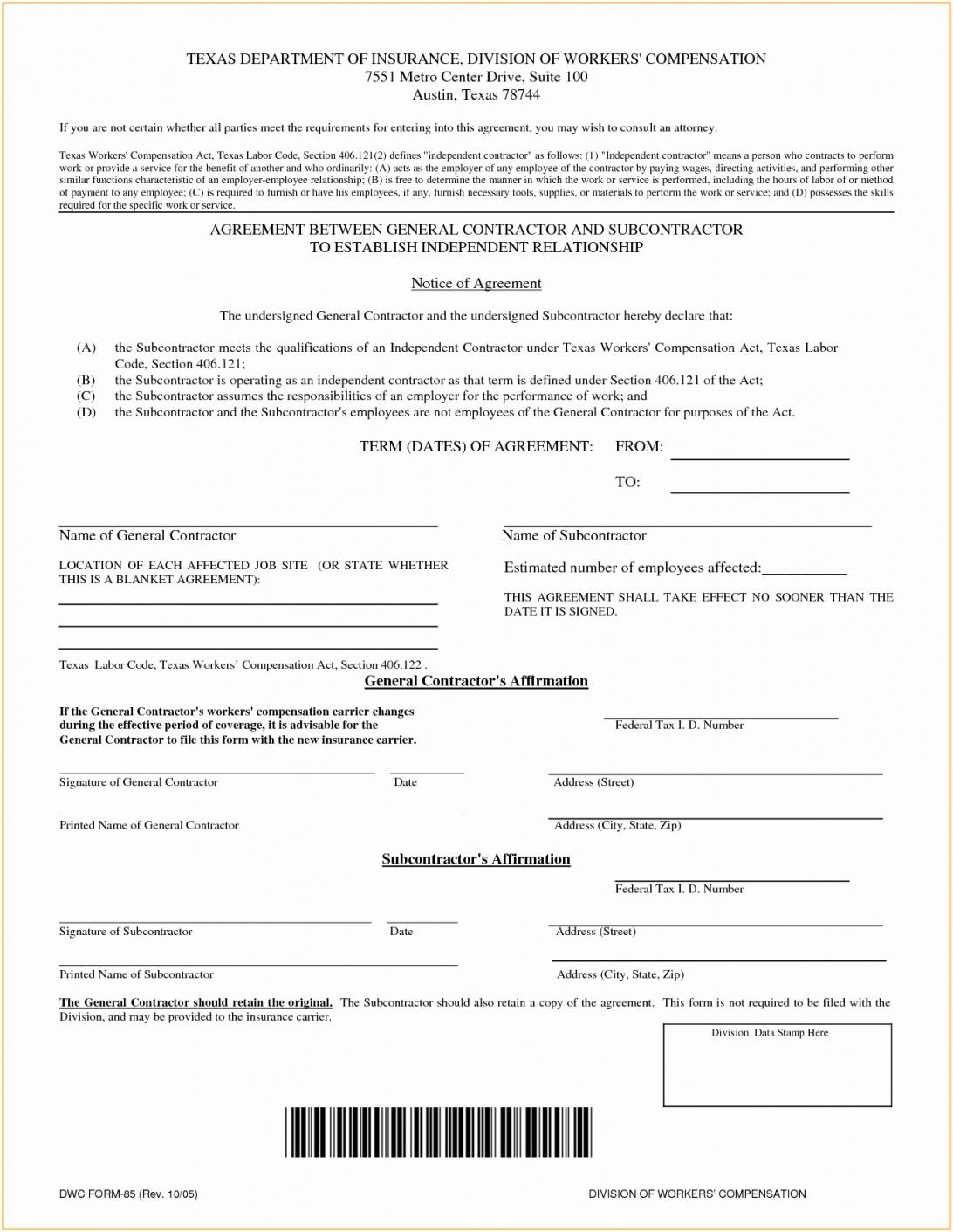This Is The Independent Contractor Agreement Form For Truck