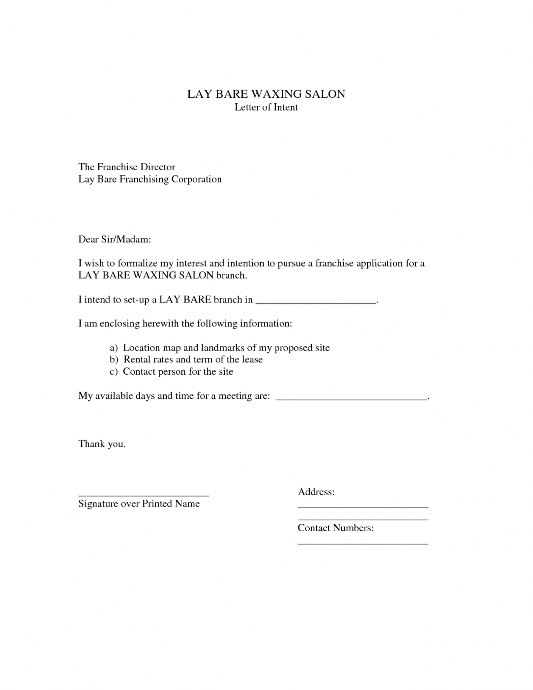 Franchise Letter Of Intent Template