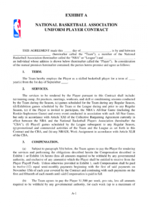 this is the nba player contract example basketball player contract template