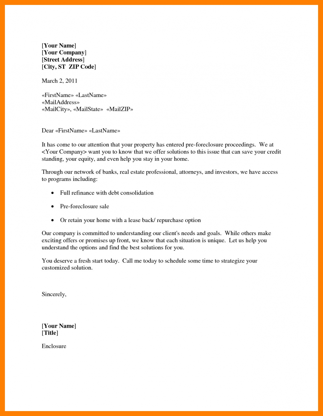 7 Foreclosure Letter Sample Mael Modern Decor Template