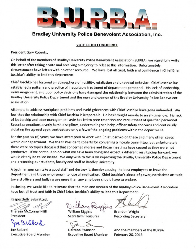 bupba finds vote of no confidence in police chief  the bradley scout vote of no confidence letter template pdf