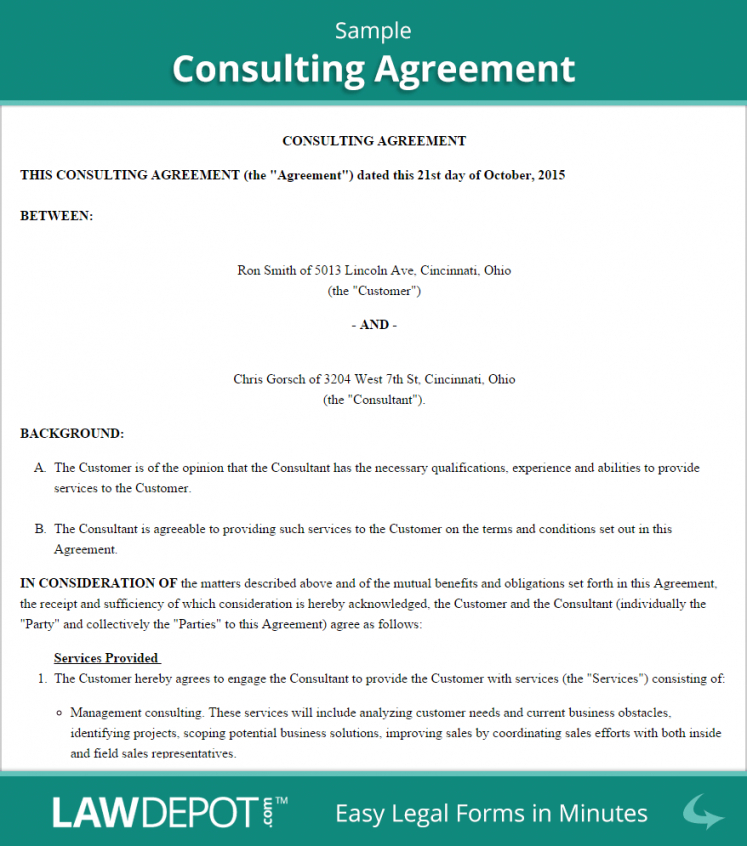 Consulting Agreement Template (Us) Lawdepot Sample