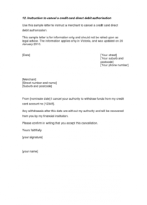 credit card cancellation letter  a credit card cancellation letter credit card cancellation letter template pdf