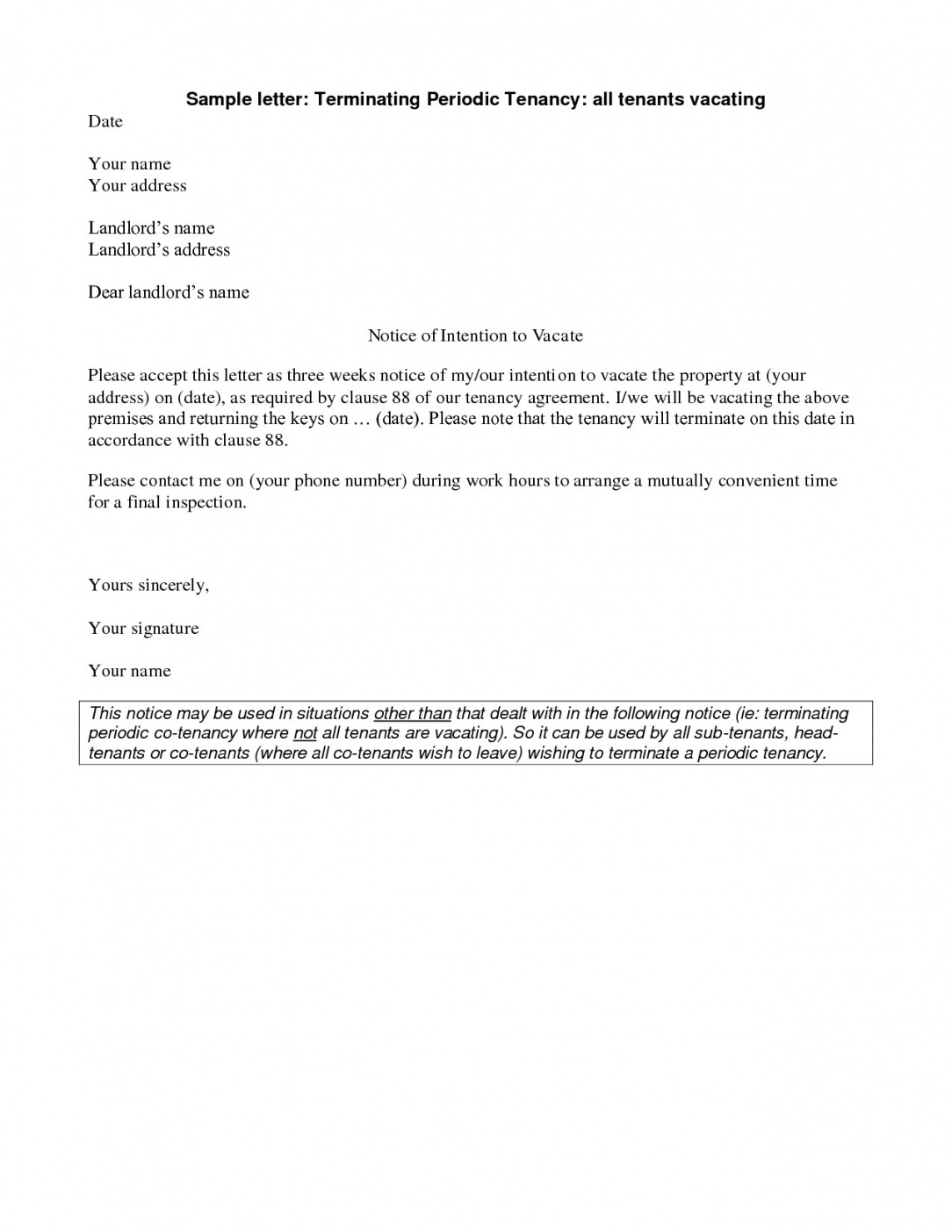 editable giving notice to tenants letter template samples  letter cover giving notice to tenants letter template doc