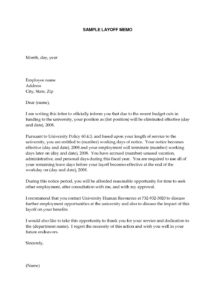 editable letter of recommendation layoff  sereselpheeco temporary layoff letter template sample