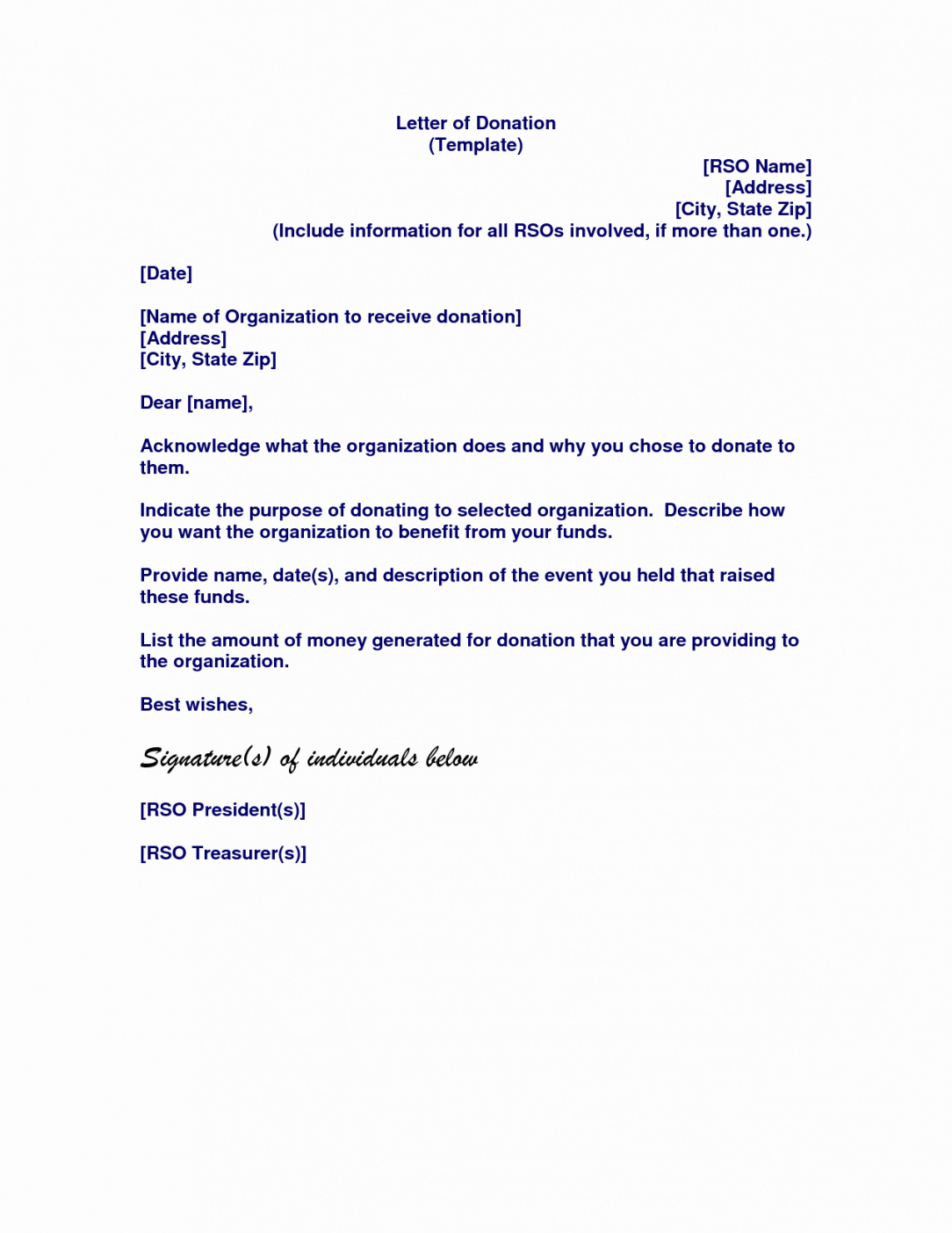 editable memorial donation letter template collection  letter template memorial donation letter template pdf