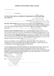 editable sample wisconsin eviction notice form template  landlord  eviction tenant eviction letter template