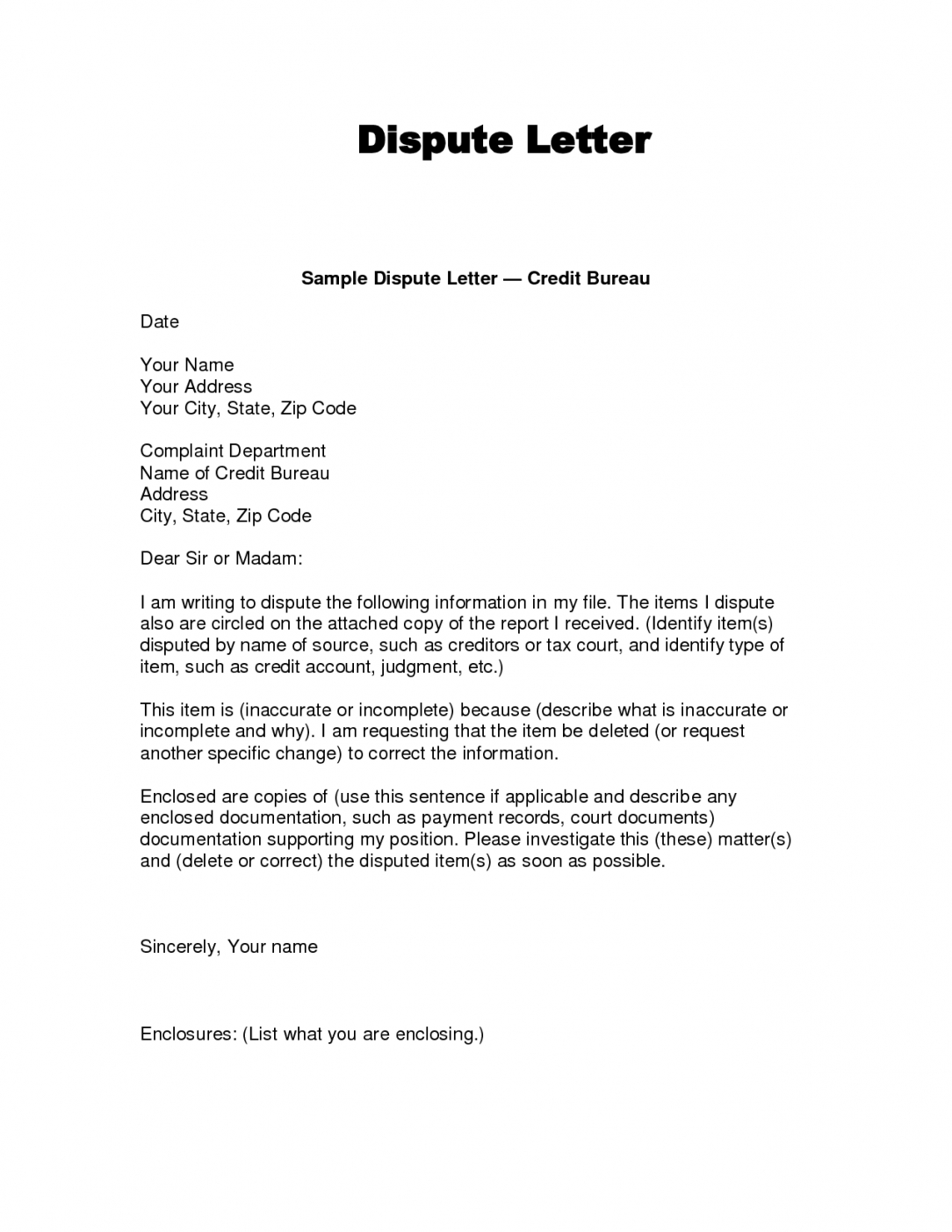 editable writing dispute letter format  make a habit 2019 credit inquiry removal letter template sample