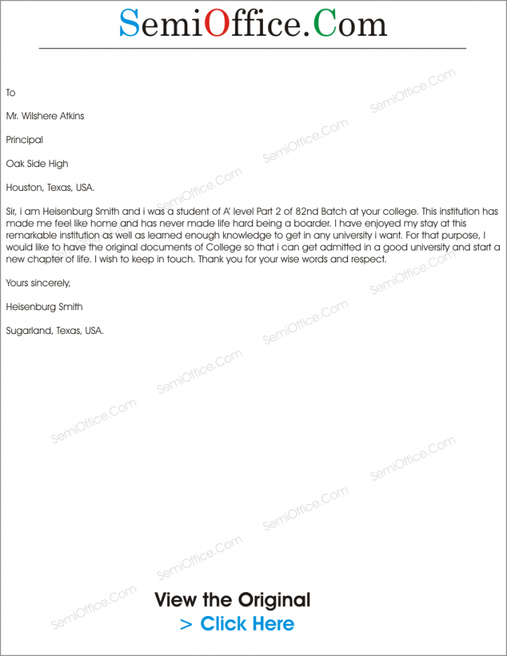 free application for return of original documents returning documents letter template doc