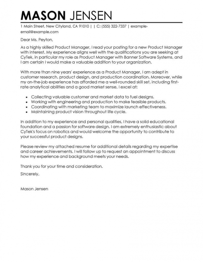 free best product manager cover letter examples  livecareer product endorsement letter template sample