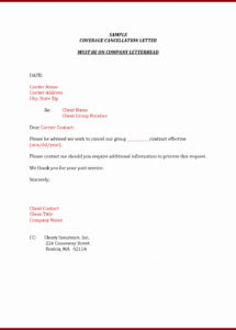 free car insurance cancellation letter template examples  letter cover insurance cancellation letter template sample