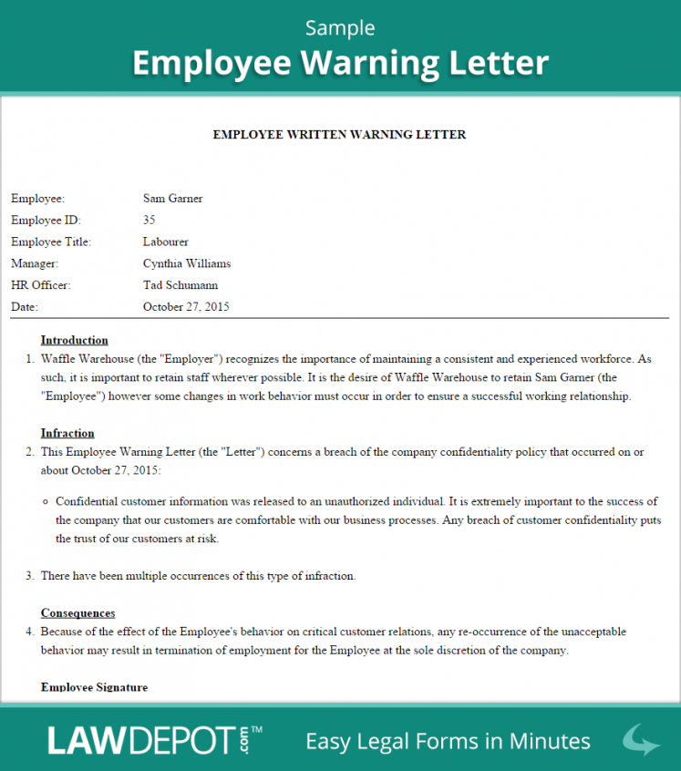 free employee warning letter template (us)  lawdepot warning letter format for employee pdf