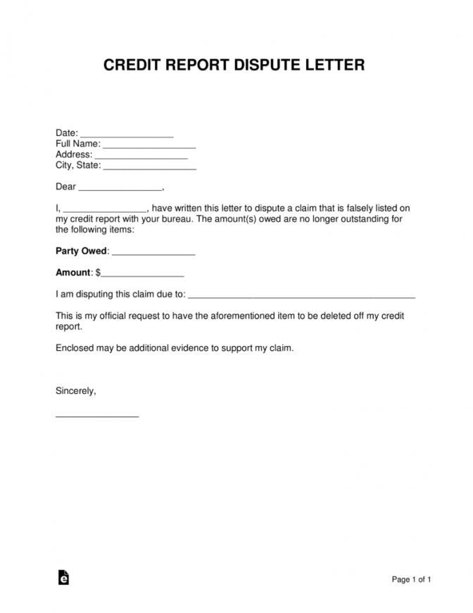 free free credit report dispute letter template  sample  word  pdf debt dispute letter template doc