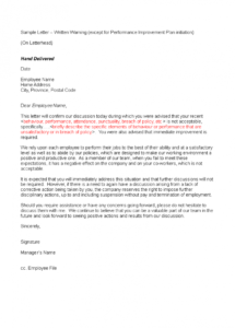 free free poor performance and attendance warning letter  templates at warning letter template for poor performance pdf