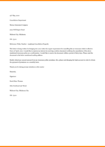 free insurance policy cancellation letter template sample insurance cancellation letter template
