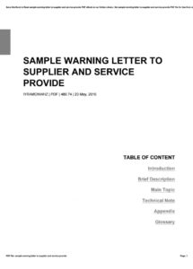 free sample warning letter to supplier and service provide by warning letter to vendor doc