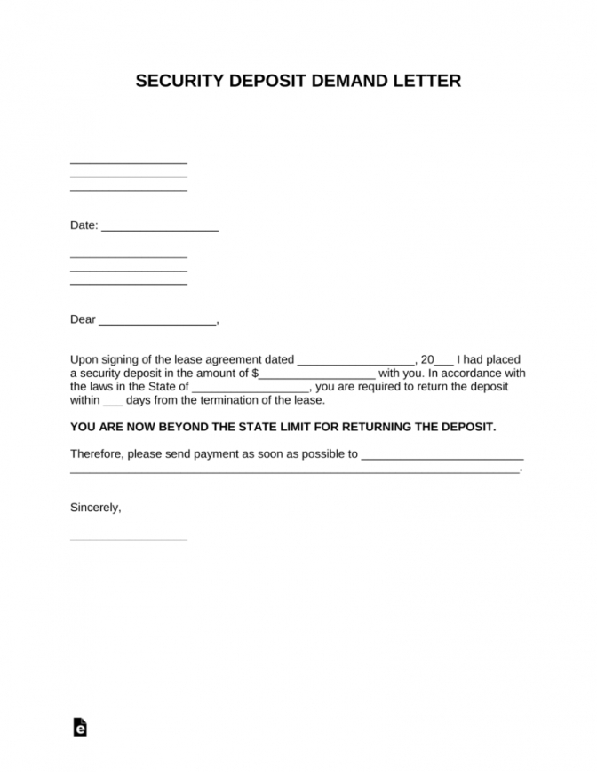 free security deposit demand letter template  pdf  word  eforms returning documents letter template