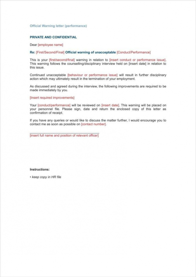 printable 9+ late warning letter examples  free word, pdf format download final warning letter for lateness pdf