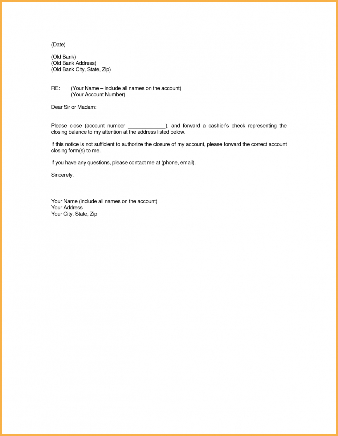 printable account paid full letter close bank template closing format sample bank account cancellation letter template pdf