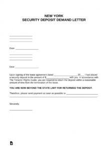 printable free new york security deposit demand letter  pdf  word  eforms refund demand letter template pdf