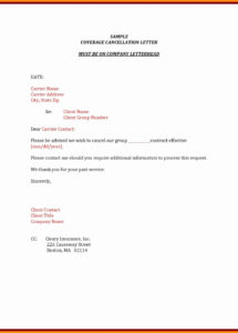printable insurance cancellation letter template collection  letter cover insurance cancellation letter template pdf