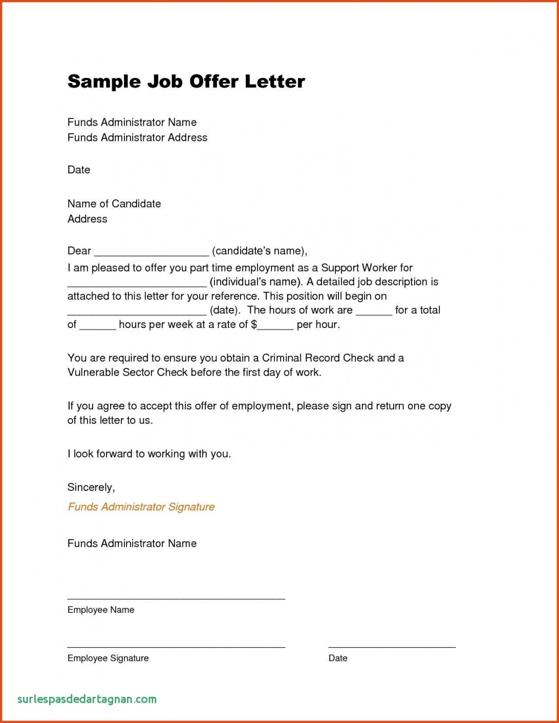 printable offer of employment letter template canada